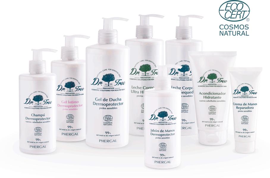 Bodegon de dr tree. productos para piel sensible y con tendencia atopica.